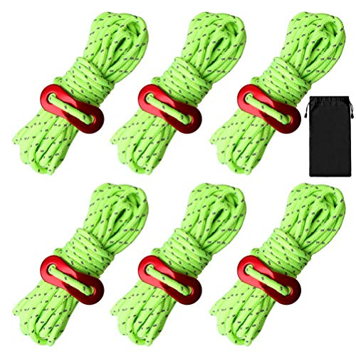 nuoshen Guy Ropes, 6 Pack 4mm Tent Guy Line 13 Feet Reflective Cord Guy Line Tent Guide Rope for Awning Camping (Lemon)