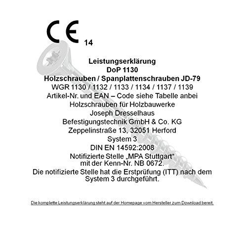 0//1130//001//3,5//50////03 galvanis/ées argent 3/x 10/mm Dresselhaus JD-79/Lot de 1000 vis /à t/ête frais/ée en Z pour panneau dagglom/ér/é
