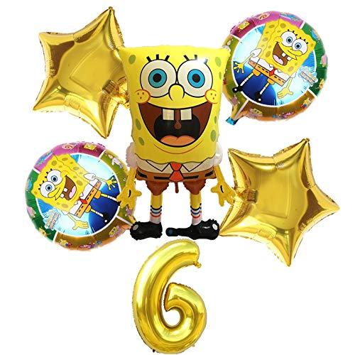 changshuo Luftballons 6pcs Große Spongebob Folie Luftballons Gold Nummer Bälle Alles Gute Zum Geburtstag Party Ballon Dekorationen Babyshower