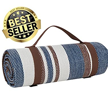 Extra Large Picnic & Outdoor Blanket Dual Layers For Outdoor Water-Resistant Handy Mat Tote Spring Summer Blue and White Striped Great for the Beach,Camping on Grass Waterproof Sandproof (CM3)