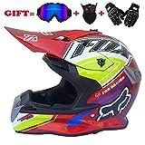 GZH Qianliuk Casco Moto Casco Capacete Motocross di Protezione Fuoristrada Motocross per Uomo E Donna,I.G.K