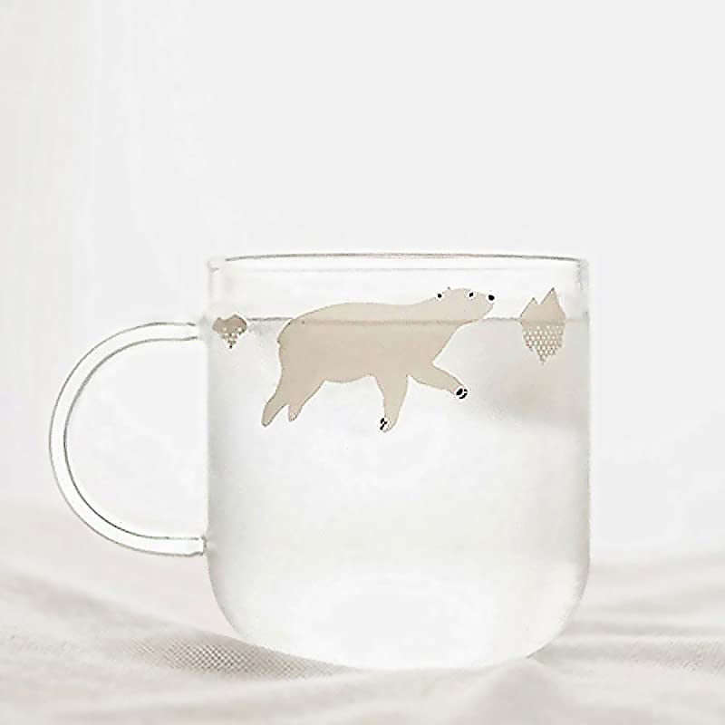 Fecihor Glass Mug Milk Cup With Handle Cute Cup With Polar Bear Print Perfect Cup For Tea Coffee 350ml 12 3oz Set Of 1
