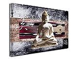 DECLINA Tableau DecoZen Bouddha ET Japon imprimée - Impression sur Toile décoration Murale Zen - Déco Maison, Cuisine, Salon, Chambre Adulte - Violet 50x30 cm