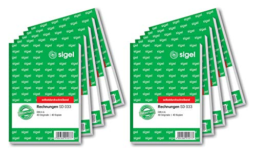 Sigel SD033 Rechnung, A6, 2x40Blatt, selbstdurchschreibend, 10er Pack