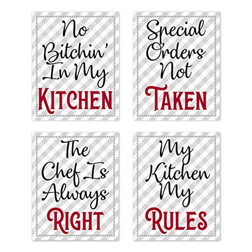 """Retro Vintage Inspirational Rules Wall Art for Dining Room Kitchen Cafe and Restaurant Decor Red Black Gray and White Prints Posters Signs Sets Home Decorations Funny Sayings Quotes No Bitchin' My Kitchen Chef Always Right Unframed (Set of 4) 8""""x10"""""""