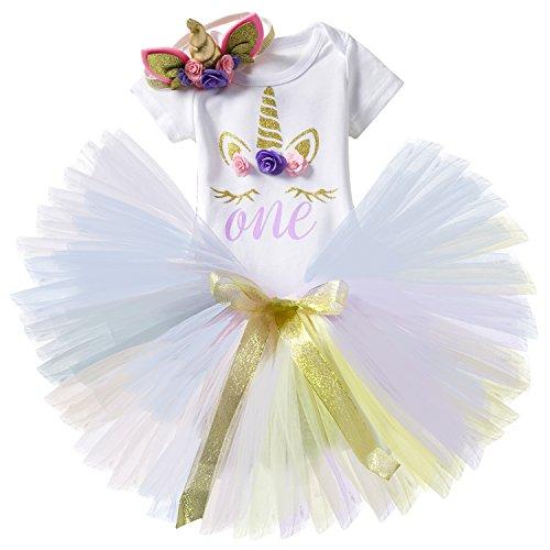 NNJXD Girl Unicorn Flowers Rainbow Tutu 1 ° Compleanno 3 Pezzi Outfit Pagliaccetto + Gonna + Fascia Oro Dimensione 1 Anni Viola
