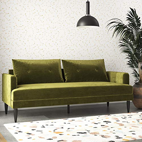 Novogratz Bailey Pillowback Sofa, Mid-Century Modern Vintage Living Room Furniture, Olive Green Velvet