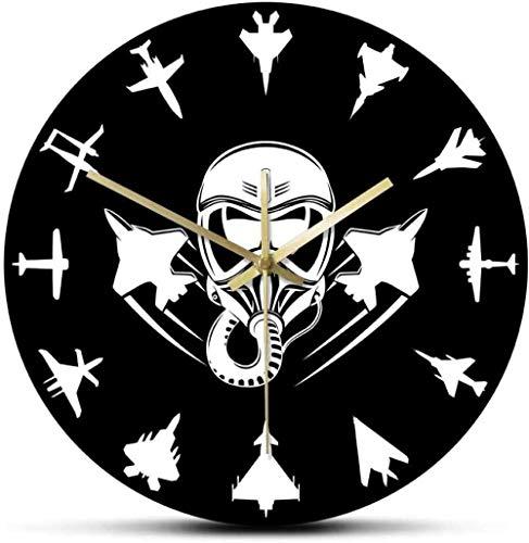 LTBWFDC Avión a reacción Militar Reloj de Pared Moderno Jet Fighter Reloj de Pared silencioso aviación Arte de Pared piloto de avión decoración del hogar Regalo piloto 30x30 cm