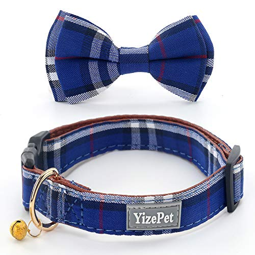Yizepet Pet Dog Cat Collar with Bow tie, Adjustable Plaid Pet Dogs Cats Comfortable Durable Bowtie Collars for Small Medium Large Dogs Cats