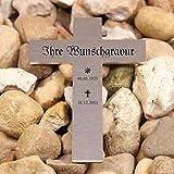 LASERfein Grabkreuz Edelstahl Metallkreuz Kreuz Grabstein inklusive edler Gravur, 18x12cm