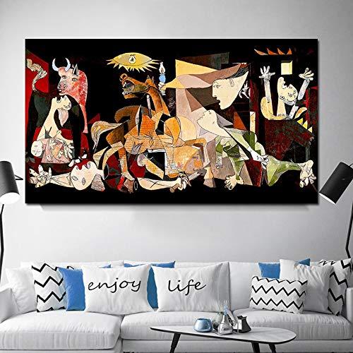 YIYEBAOFU Kein Rahmen Spanien Frankreich Picasso Guernica Vintage Classic Deutschland Figur Leinwand Kunstdruck Gemälde Poster Wandbilder für Zuhause Deco60x120cm