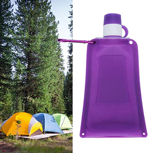 Gedourain Botella de Agua de Silicona, Botellas de Agua Plegables de 500 ml para Escalada en casa, Ciclismo y Camping(Purple)
