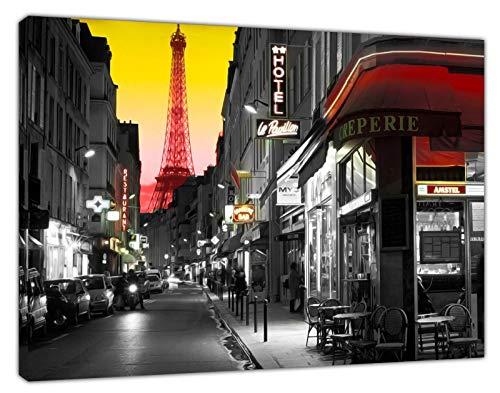 Paris Street Eiffel Tower Impression sur toile encadrée Décoration murale, 30'' x 20'' inch(76x 50 cm) -38mm depth