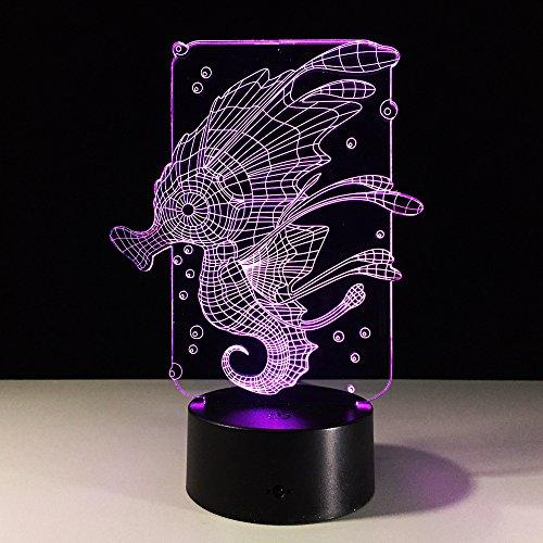 DFDLNL Hippocampus 3D LED Nachtlicht Atmosphäre Tischlampe Beleuchtung Hot Home Decoration Für Kinder Freunde Große Geschenke