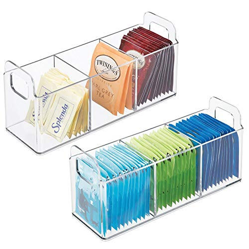 mDesign 2er-Set Küchen Organizer mit Griffen – praktische Teebox mit 3 Fächern für Küche und Speisekammer – Aufbewahrungsbox für Tee, Süßstoff, Kaffeepads und andere Lebensmittel – durchsichtig