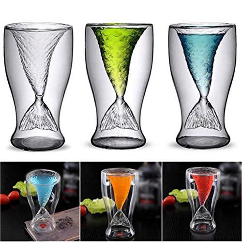 Advancethy - Vaso de sirena (100 ml, diseño de sirena, para mujer, diseño de sirena, para cócteles, copas de sirena de doble pared para niñas o hombres, regalo de Navidad (sirena)