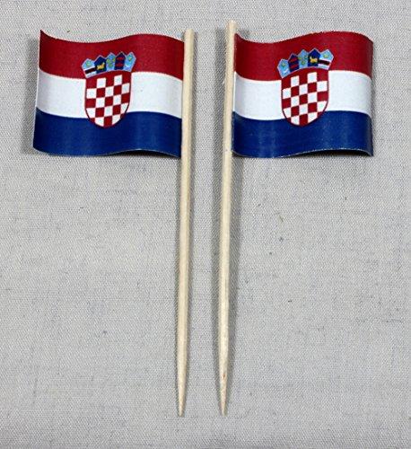 Buddel-Bini Party-Picker Flagge Kroatien Papierfähnchen in Profiqualität 50 Stück Beutel Offsetdruck Riesenauswahl aus eigener Herstellung
