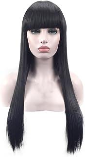 Merssavo 新しい黒ロングストレートニートバンヘアコスプレパーティー女性のフルウィッグ