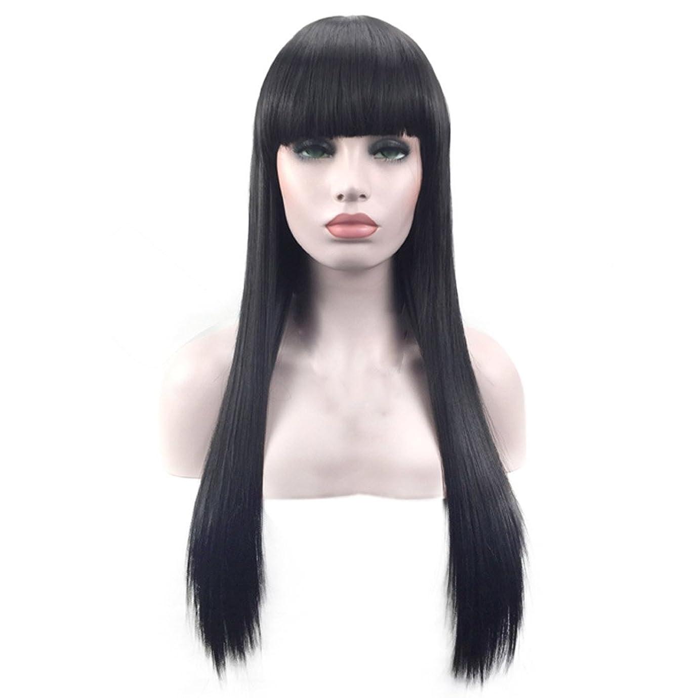 購入自体ひねくれたMerssavo 新しい黒ロングストレートニートバンヘアコスプレパーティー女性のフルウィッグ