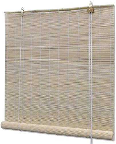 WENXIA Curtains blinds Window Blinds Bamboo Roller Blinds, Brown and Natural 100x160 cm