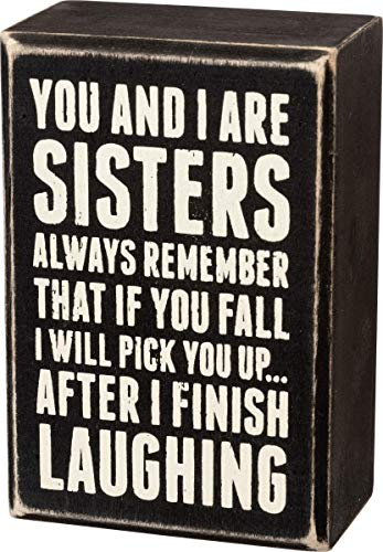 """Primitives by Kathy 19450 Box Sign, 3"""" x 4.5"""", Sisters Laughing"""