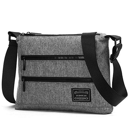 European Minimalist Outdoor Leisure Canvas Messenger Bag Satchel Multi Pocket Double Cross Section Man bangalor (Tuba, Gray)