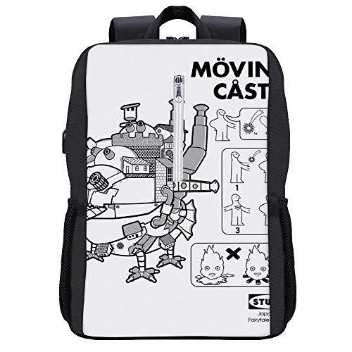 Studio Ghibli IKEA Howls Moving Castle - Mochila para portátil con puerto de carga USB