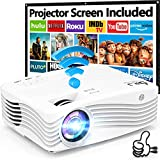 """7500Lumens Upgraded Native 1080P Projector, Full HD WiFi Projector Synchronize Smartphone Screen, Compatible with TV Stick/HDMI/PS4/DVD Player/AV for Outdoor Movies [Packed with 120"""" Projector Screen] - Best Reviews Guide"""