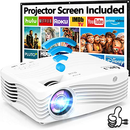 7500Lumens Upgraded Native 1080P Projector, Full HD WiFi Projector Synchronize Smartphone Screen, Compatible with TV Stick/HDMI/PS4/DVD Player/AV for Outdoor Movies [Packed with 120' Projector Screen]