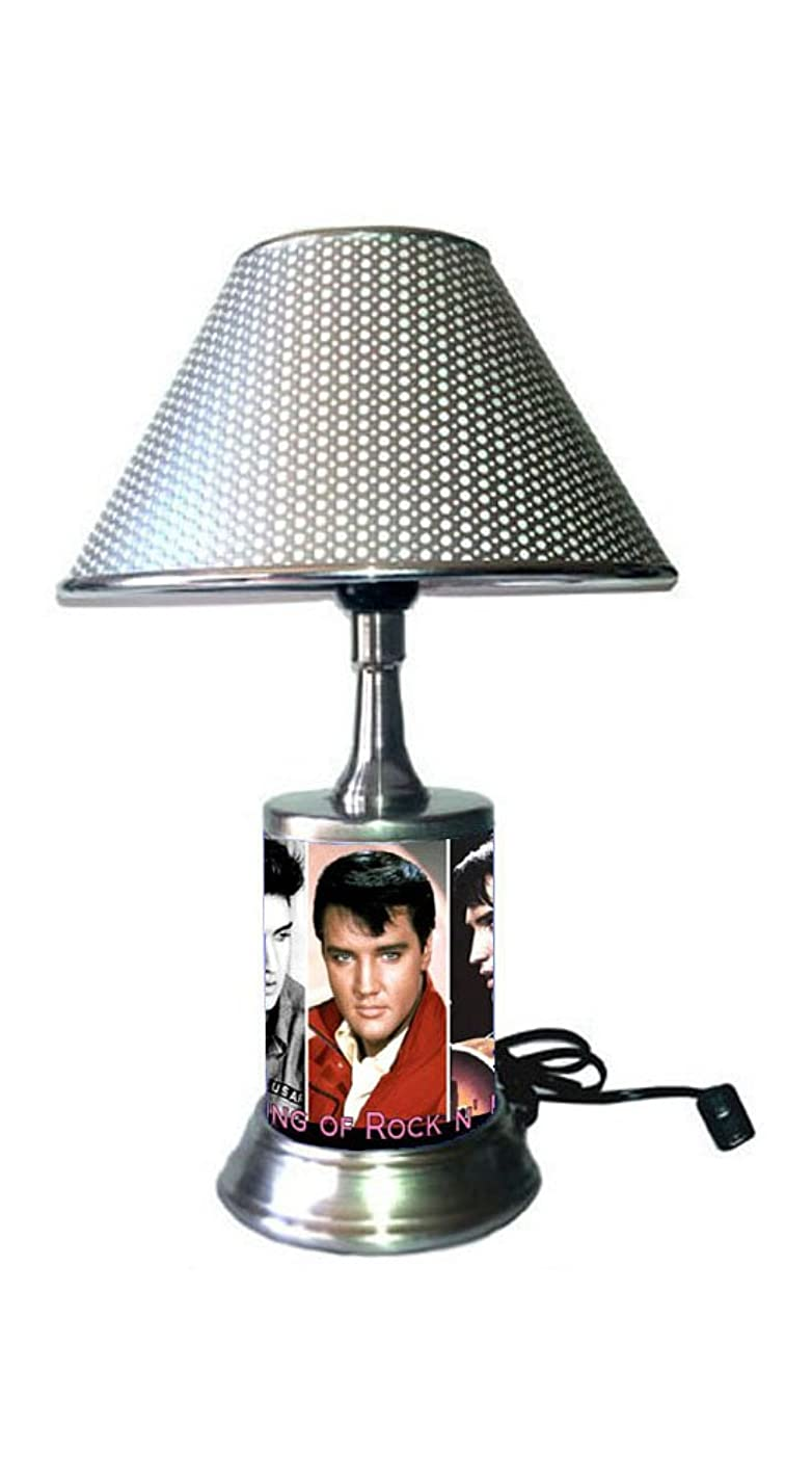 JS Elvis Presley Lamp with chrome shade, collage