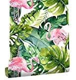 HaokHome 93013 Flamingo Palm Tree Peel and Stick Wallpaper Removable Green/Pink Vinyl Self Adhesive...