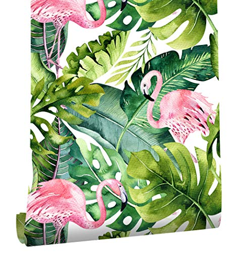 HaokHome 93013 Flamingo Palm Tree Peel and Stick Wallpaper Removable Green/Pink Vinyl Self Adhesive Contact Paper Decorative 17.7'x 9.8ft