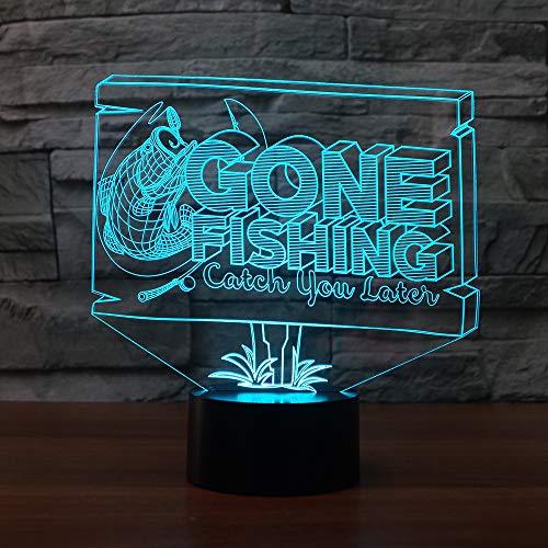 BFMBCHDJ Angeln shpe 3d nachtlichter 7 farbwechsel fisch 3d lampe led usb tischlampe neuheit beleuchtung kinder beste geschenk spielzeug