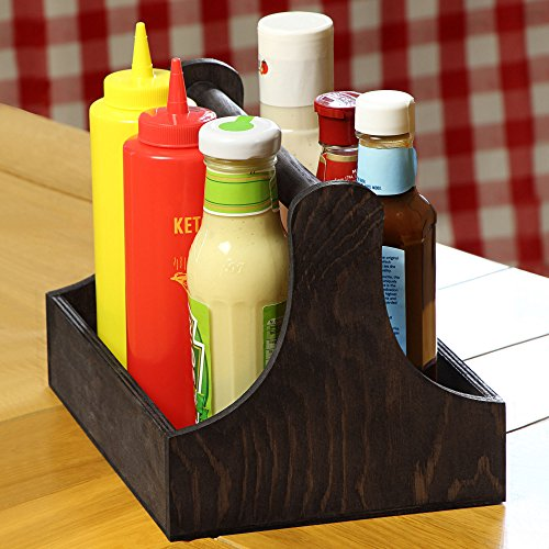 dine@drinkstuff Pine Condiment Caddy 25 x 18 x 18cm - Handy Table Organiser for Condiments and Sauce Bottles