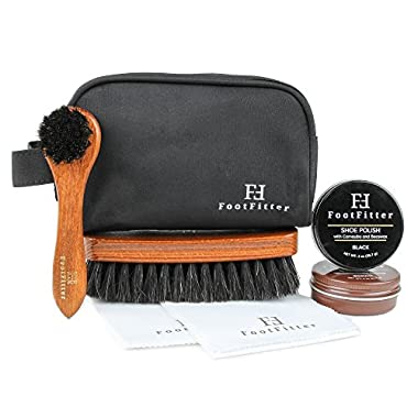 FootFitter Travel Shoe Polish Set with Travel Bag! - Polish, Dauber Brush, Polishing Brush, Cloths and Bag