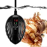 Orlushy 50W Mini Submersible Aquarium Heater with External Temp Controller and Built-in Thermometer for Small Fish Tank