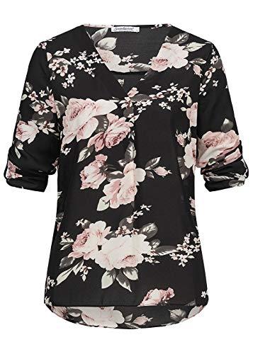 Seventyseven Lifestyle Damen Bluse 3/4 Sleeve Turn-Up Blouse Flower Print Shirt schwarz rosa, Gr::XS