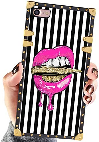 Square Case Compatible iPhone 7 iPhone 8 Case Pink Lips in Bullet Luxury Elegant Soft Shock product image