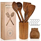 Wooden Utensils for Cooking Set with Holder, Natural Nonstick Teak Wood Spoons Spatula and Spoon...