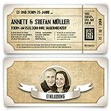 30 x Silberhochzeit Hochzeitseinladungen silberne Hochzeit Einladungskarten individuell - Vintage Brautpaar Weiß