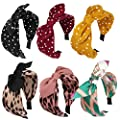 Jaciya 6 Pieces Knotted Headbands for Women Turban Headbands for Women Wide Headbands for Women Knot Headband 6 Colors cintillos de pelo para mujeres