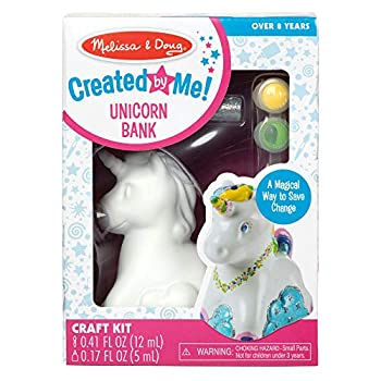 Melissa & Doug Created by Me! Decorate-Your-Own Unicorn Bank Craft Kit with 6 Pots of Paint Glitter Glue Paintbrush