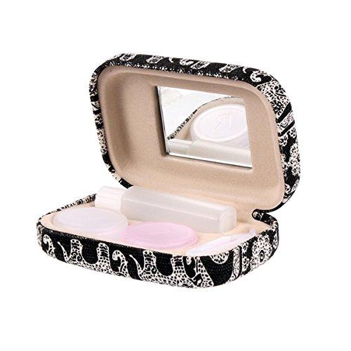 Portable Travel Contact Lens Case Box Eye Care Kit Holder Mirror Box (Plum Blossom Pattern)