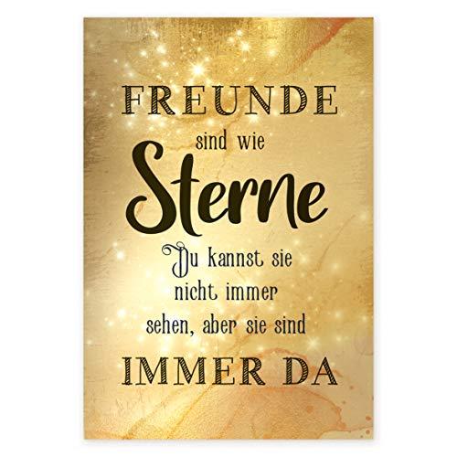 Logbuch-Verlag Wandbild Wandschild Freunde SIND WIE Sterne Bild aus Alu Gold glänzend - Vintage Deko Geschenk Freund Beste Freundin 21 x 31 cm