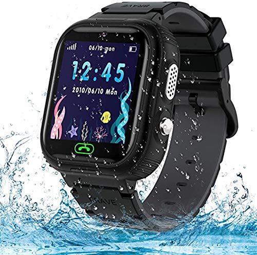 Smartwatch Kinder Uhr Wasserdicht Kinder Smartwatch für Jungen und Mädchen, Smartwatch mit Telefon SOS LBS Tracker Sprachchat, Geburtstagsgeschenk für Kinder 3-12ans