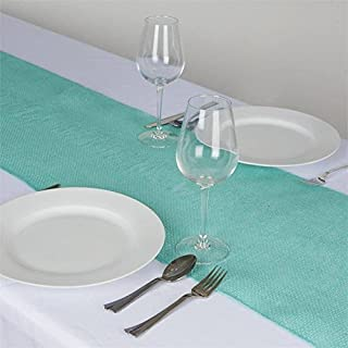 Efavormart CHAMBURY CASA Fine Rustic Burlap Table Top Runner for Wedding Decor Fit Rectangle and Round Table Turquoise Tone