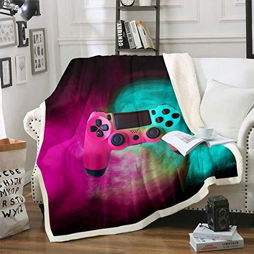 Homewish Gamepad Manta para juegos de niños, manta de sherpa, juego moderno, manta de felpa, manta de cama para niño, manta de franela roja y verde, novedosamente decorativa individual de 127 x 152 cm