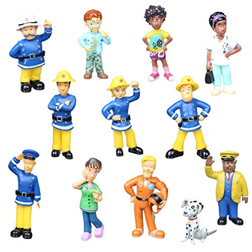 WENTS Feuerwehrmann Mini Figuren Set Geburtstags Party liefert Cupcake Figuren Party Kuchen Dekoration Lieferungen Cake Topper 12 Stück