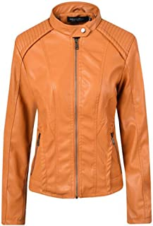 Yshaobinggva Women's Leather Jacket Short Leather Jacket Casual Motorcycle Leather Jacket Retro Slim Leather Jacket (Color : Yellow, Size : M)