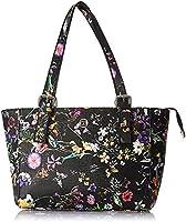 Club Aldo Floral Pattern Front Logo Zip Up Closure Faux Leather Shoulder Bag for Women - Black
